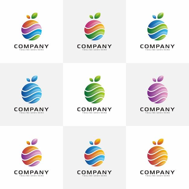 Абстрактные дизайн логотипа fruit Premium векторы