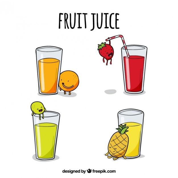Рисованной соки вкусный fruite Бесплатные векторы
