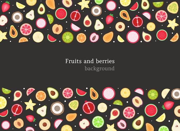 Фрукты и ягоды фон Premium векторы