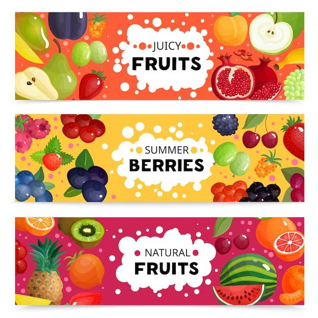 Баннеры с фруктами и ягодами Бесплатные векторы