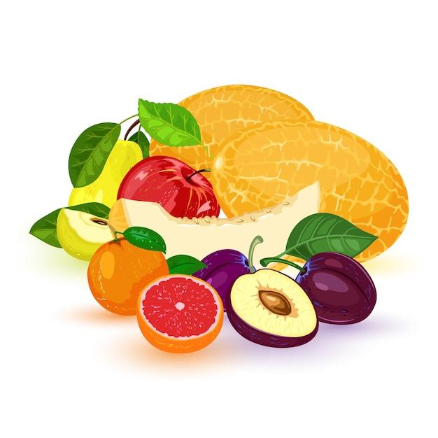 Фрукты и ягоды: яблоко, груша, мандарин, мандарин, грейпфрут, слива, дыня. Premium векторы