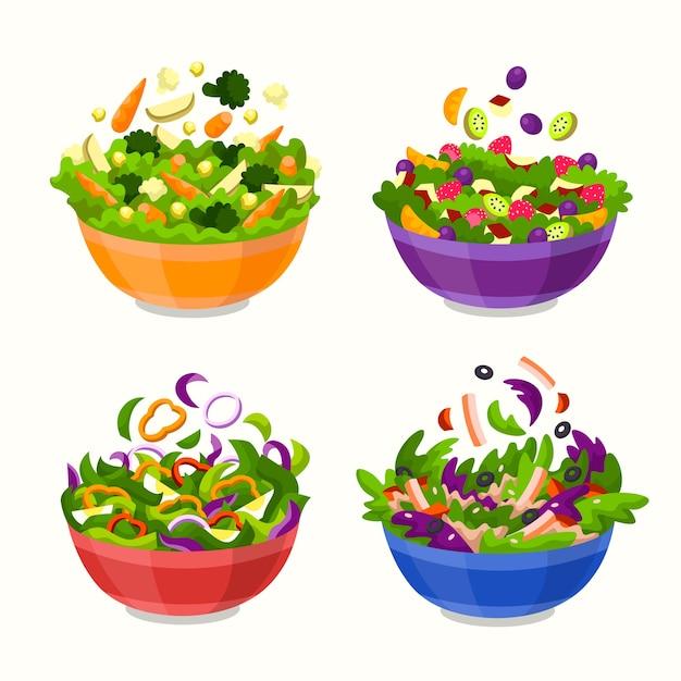 Фрукты и салатницы Бесплатные векторы