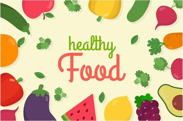 果物や野菜の背景 無料ベクター