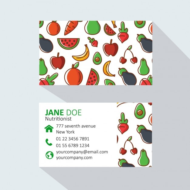 Fruits and vegetables business card Free Vector