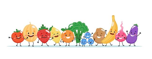 과일과 야채 캐릭터. 프리미엄 벡터