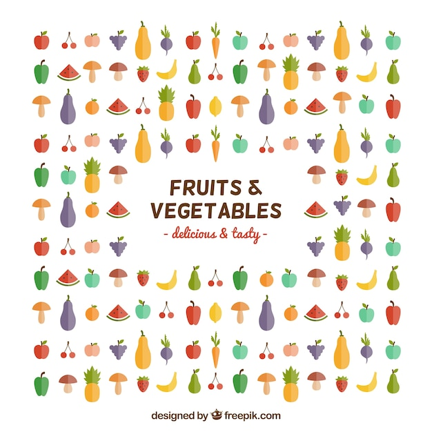 Fruits and vegetables icons Free Vector