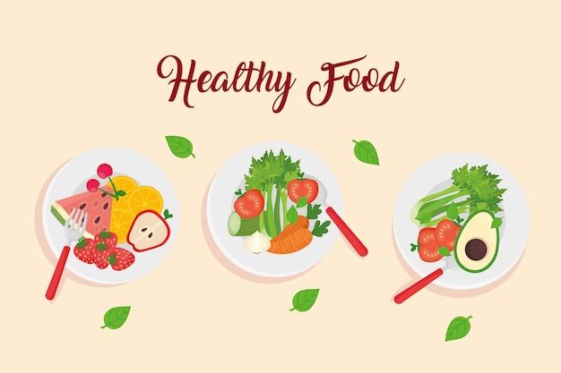 料理、健康食品の概念ベクトルイラストデザインの果物と野菜 Premiumベクター