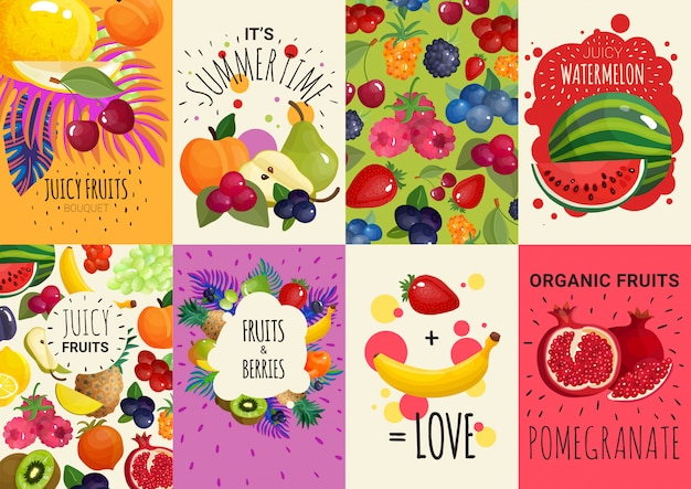 Fruits berries 8 banners set Free Vector