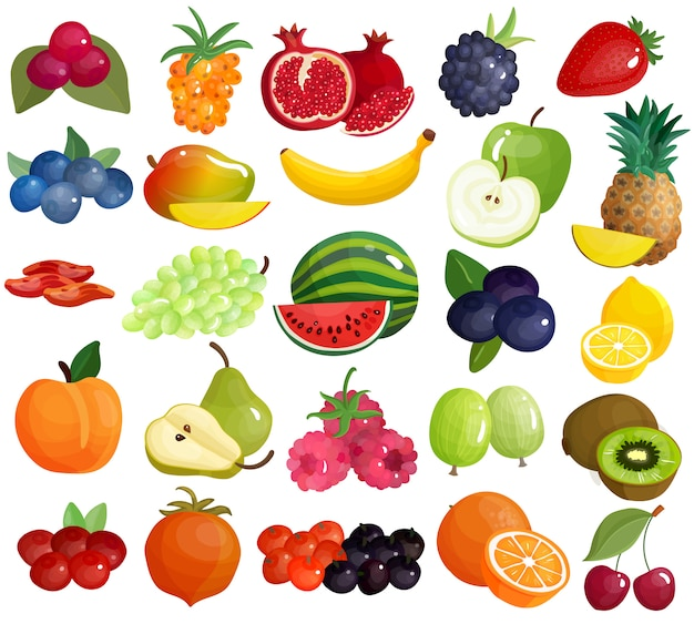 Fruits berries colorful icons collection Free Vector