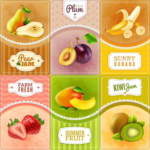 Fruits berries flat icons composition poster Free Vector