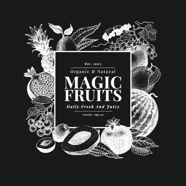Fruits and berries hand drawn on chalk board Premium Vector