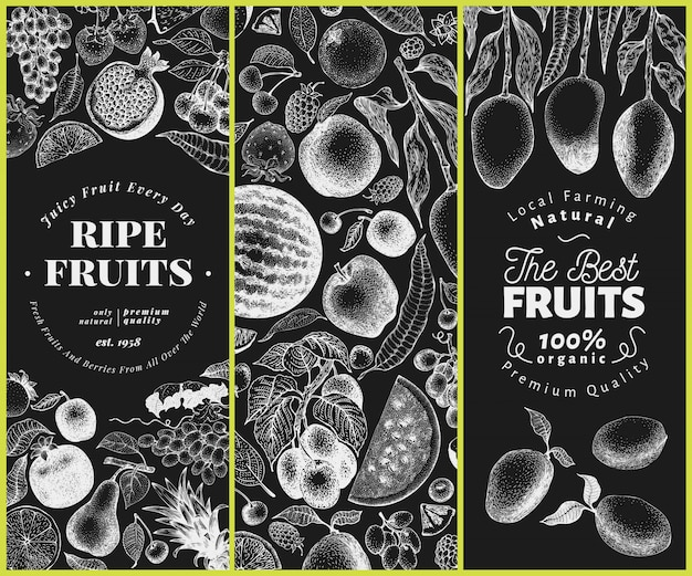 Fruits and berries hand drawn  illustration on chalk board. retro engraved style  set. Premium Vector