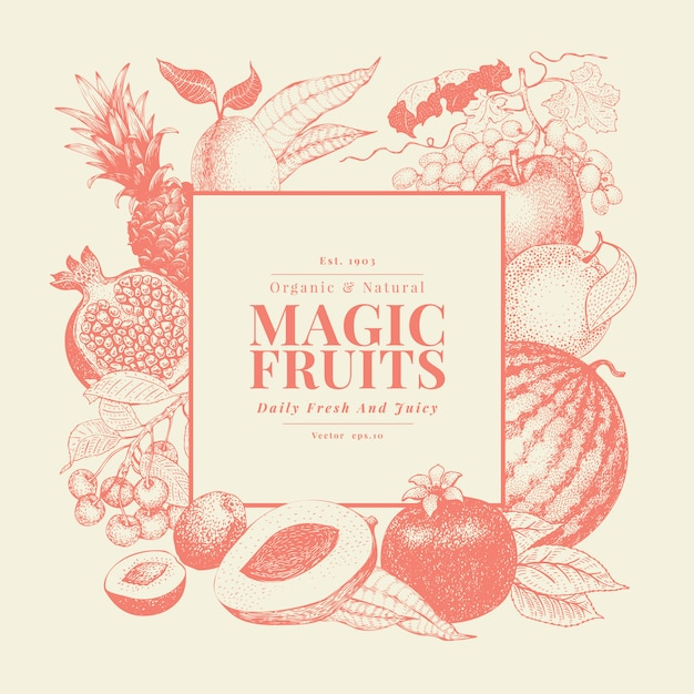 Fruits and berries hand drawn vector background Premium Vector