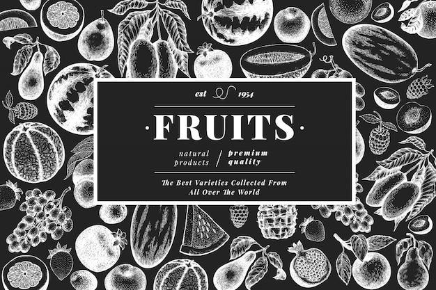 Fruits and berries template. Premium Vector