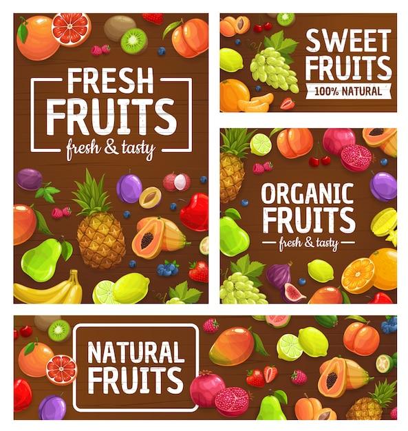 果物、果実、熱帯農産物市場、園芸食品、パイナップル、オレンジ、リンゴ Premiumベクター