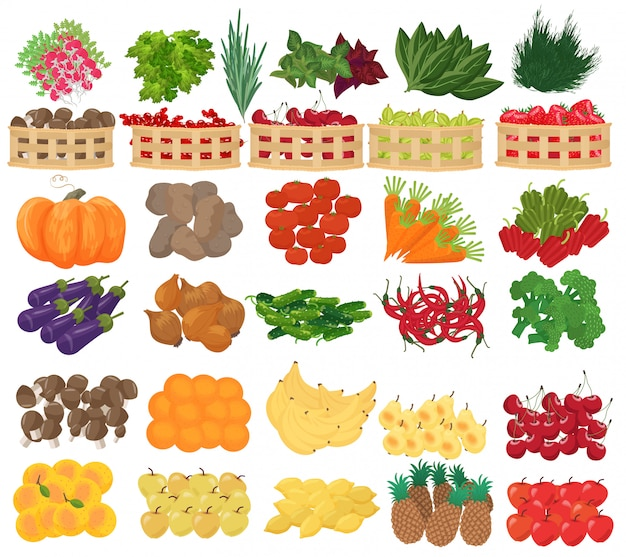 Fruits, berries and vegetables in supermarket Premium Vector