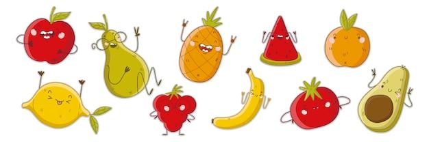 Набор фруктов каракули. коллекция рисованной шаблоны шаблонов вегетарианских красочных пищевых талисманов с счастливыми сердитыми комическими эмоциями на белом фоне. витаминная иллюстрация здорового питания Premium векторы