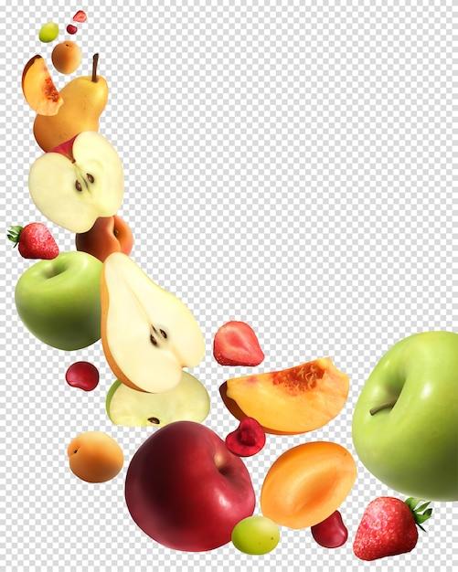 Insieme trasparente realistico di caduta di frutta Vettore gratuito