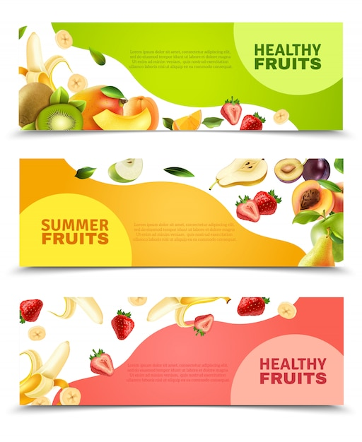 Fruits flat banners set Free Vector