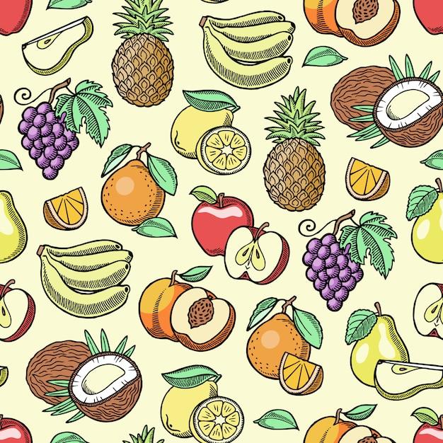 Фруктовый фруктовый яблочный банан и экзотическая папайя ручной эскиз старый ретро винтаж графический стиль иллюстрации. свежие ломтики тропического драконьего плода или сочного апельсина Premium векторы