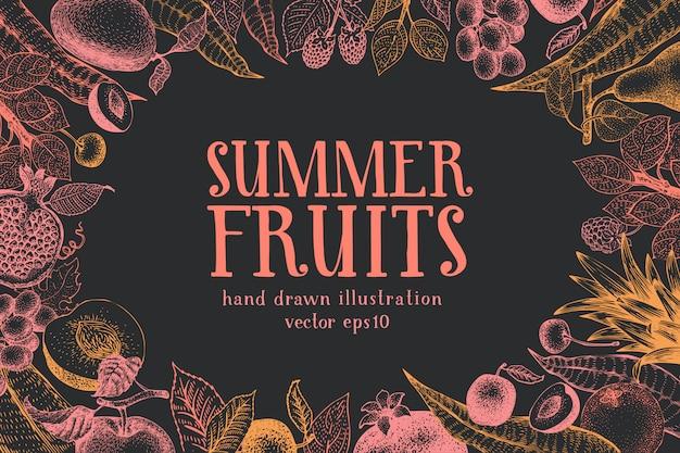 Fruits hand drawn vector background. Premium Vector