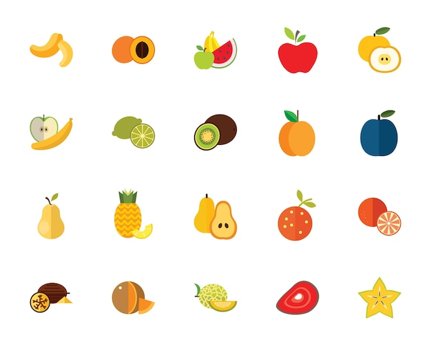 Fruits icon set Free Vector