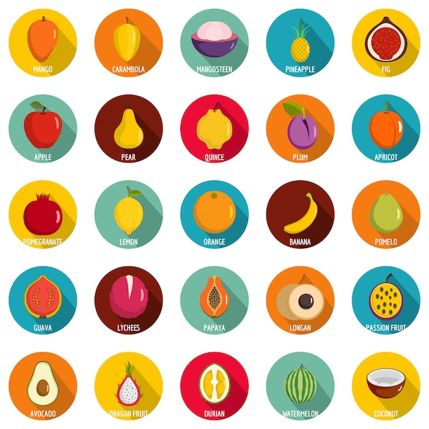 Fruits icons set. flat illustration of 25 fruits vector icons circle isolated on white Premium Vector