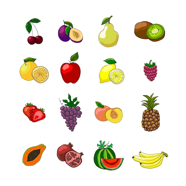 Fruits icons set Free Vector