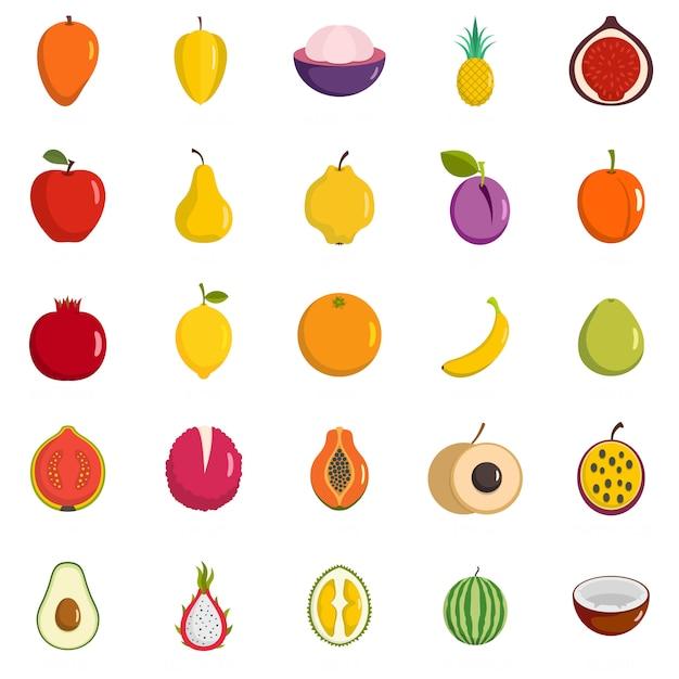 Fruits icons set Premium Vector
