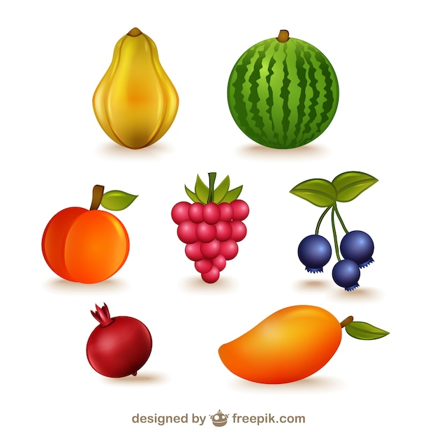 Fruits illustrations pack Free Vector