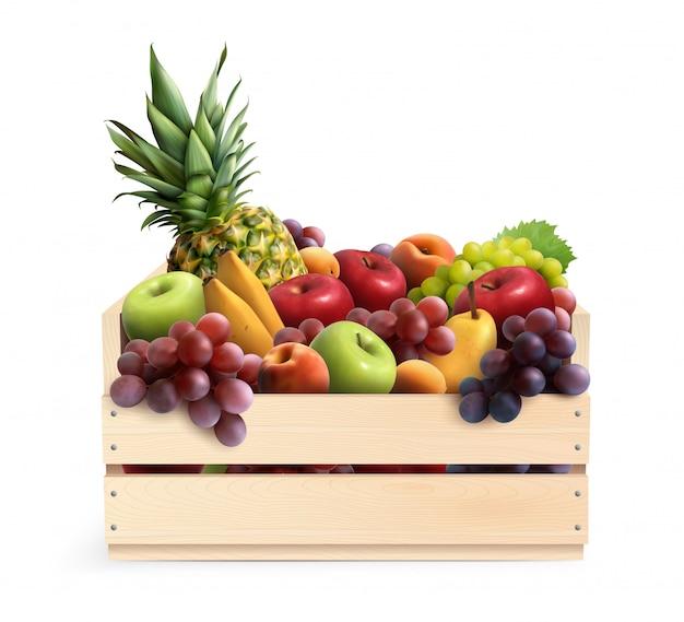 과일 상자 현실적인 구성 무료 벡터