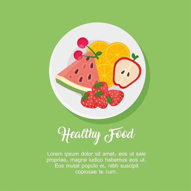 Фрукты в блюде, здоровое питание концепции векторные иллюстрации дизайн Premium векторы