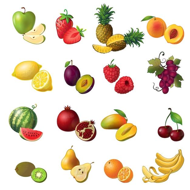 Фрукты изолированные цветной набор с фруктами и ягодами разных цветов и размеров Бесплатные векторы