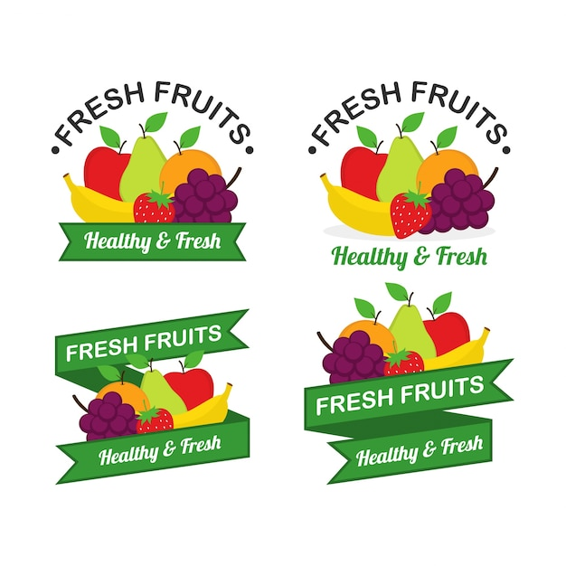 Fruits logo vector set Premium Vector