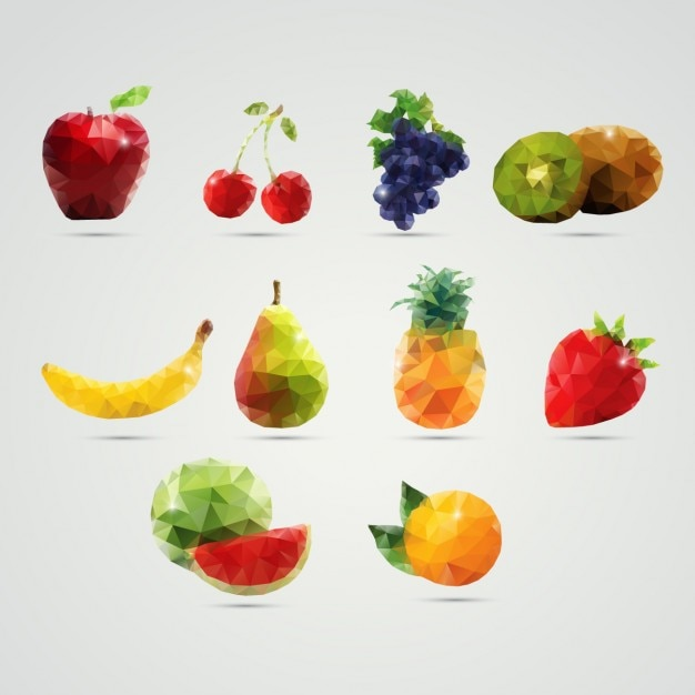 Fruits made of polygons