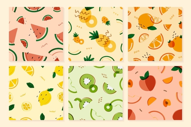 Fruits memphis style pattern Free Vector