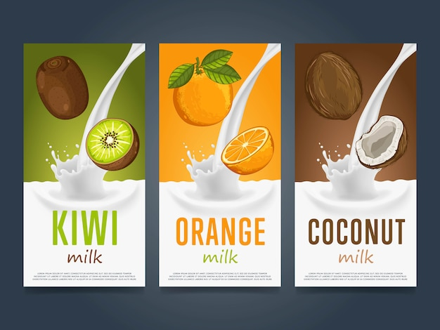 Fruits milkshake splash dessert cocktail drink Premium Vector