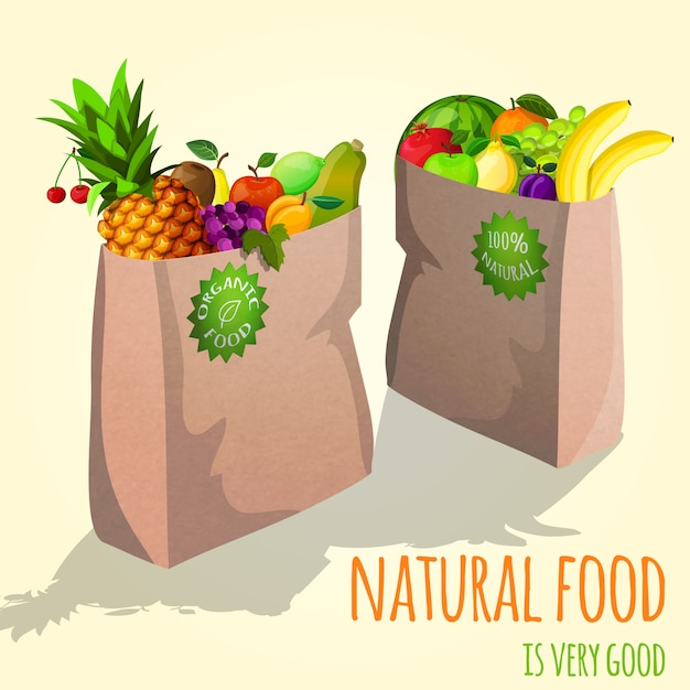 Fruits in paper bag illustration Free Vector