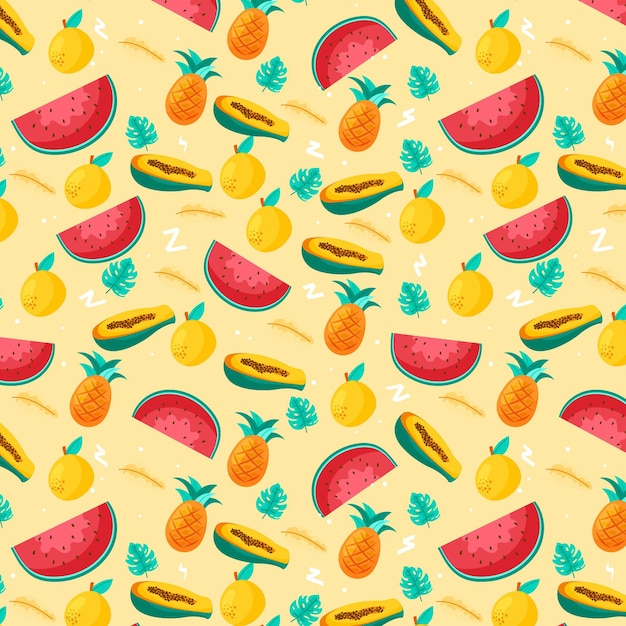 Fruits pattern collection concept Free Vector