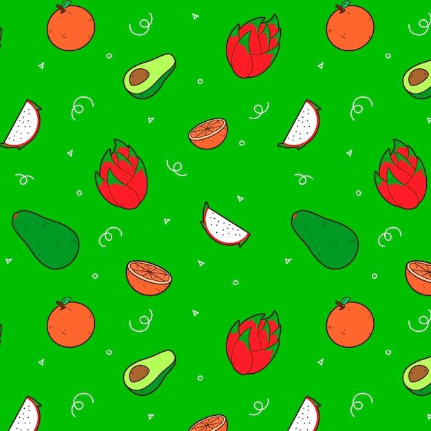아보카도와 과일 패턴 디자인 무료 벡터