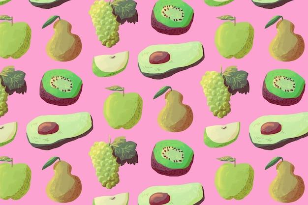 Фруктовый узор с авокадо Бесплатные векторы