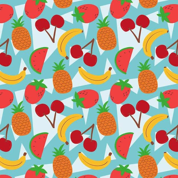 バナナとスイカのフルーツパターン 無料ベクター