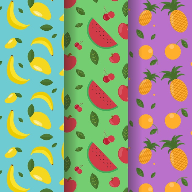 Fruits pattern with bananas, watermelon and pineapples collection Free Vector