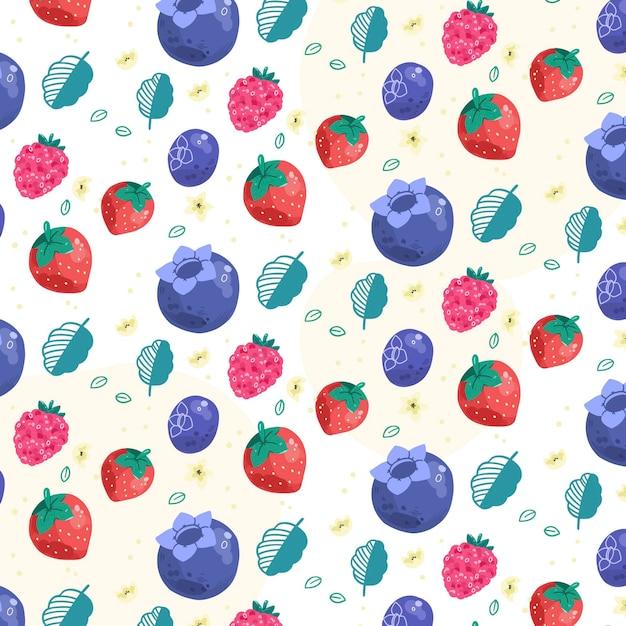 Modello di frutti con bacche Vettore gratuito