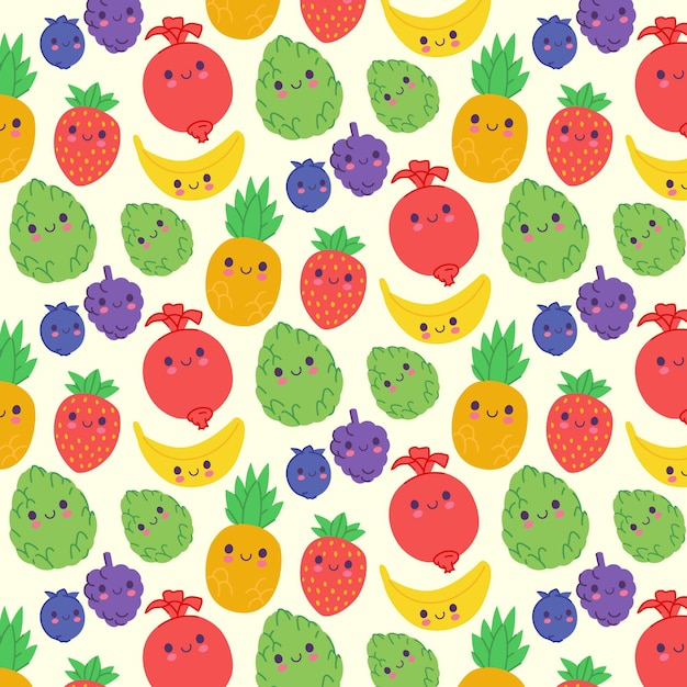 Fruits pattern with grapes Free Vector