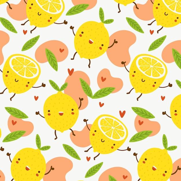 幸せなレモンのフルーツパターン 無料ベクター