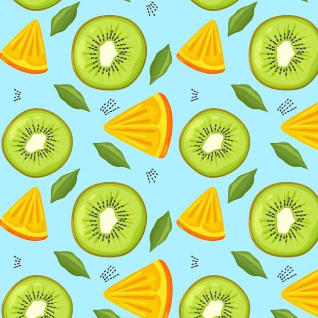 キウイとフルーツのパターン Premiumベクター