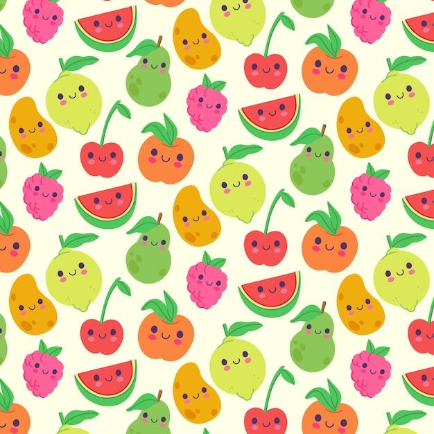 レモンとフルーツパターン 無料ベクター