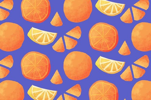 오렌지 과일 패턴 무료 벡터