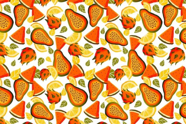 パパイヤとフルーツのパターン 無料ベクター